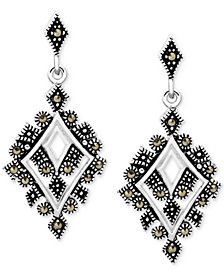 Marcasite Geometric Drop Earrings in Fine Silver-Plate