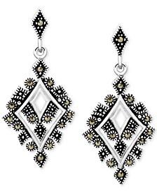 Marcasite Geometric Drop Earrings in Fine Silver-Plate