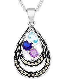 "Cubic Zirconia & Marcasite Double Teardrop 18"" Pendant Necklace in Fine Silver-Plate"