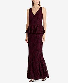 Lauren Ralph Lauren Lace Peplum Gown