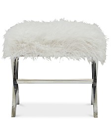 Halifax Modern Sheepskin Bench, Quick Ship