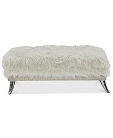 Candlerville Modern Sheepskin Storage Ottoman, Quick Ship