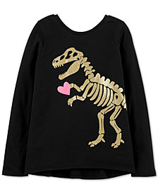 Carter's Little & Big Girls Glitter Dino Graphic Cotton Shirt