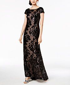 Calvin Klein Sheer Sequin Gown