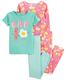Carter's Little & Big Girls 4-Pc. Breakfast Snug Fit Cotton PJs Set