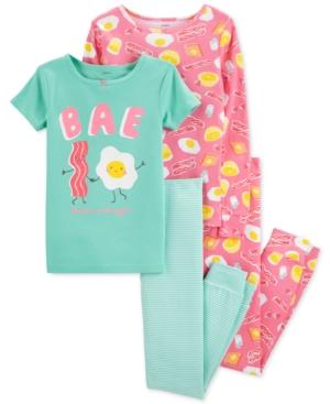 Carters Little  Big Girls 4Pc Breakfast Snug Fit Cotton PJs Set