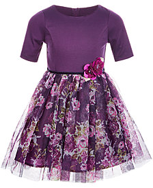Pink & Violet Little Girls Knit Floral Mesh Dress