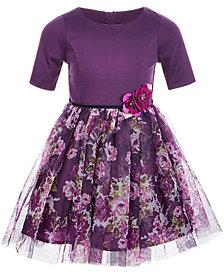 Pink & Violet Little Girls Knit Floral Mesh Dress