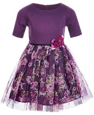 Pink Violet Little Girls Knit Floral Mesh Dress Dresses Kids