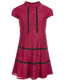 Us Angels Big Girls Cap-Sleeve Lace Dress
