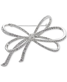 Anne Klein Silver-Tone Pavé Bow Pin, Created for Macy's