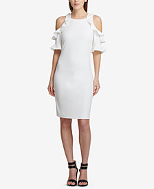 DKNY Ruffled Cold-Shoulder Sheath Dress, Created for Macy's