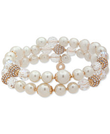 Anne Klein Gold-Tone Pavé Bead & Imitation Pearl Triple-Row Coil Bracelet