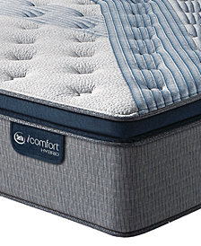 "iComfort by Serta Blue Fusion 1000 14.5""  Hybrid Luxury Firm Euro Pillow Top Mattress Set  - King with Adjustable Base"