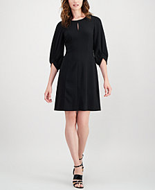 Calvin Klein Balloon-Sleeve Keyhole Dress