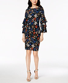 Calvin Klein Floral Printed Bell-Sleeve Dress