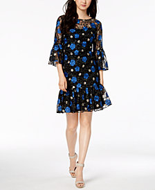 Calvin Klein Floral-Embroidered Bell-Sleeve Dress