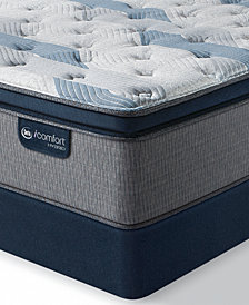"iComfort by Serta Blue Fusion 300 14"" Hybrid Plush Euro Pillow Top Mattress Set  - Queen"