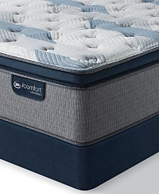 "iComfort by Serta Blue Fusion 300 14"" Hybrid Plush Euro Pillow Top Mattress Set  - King"