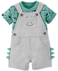 Carter's Baby Boys 2-Pc. Cotton Dino-Print T-Shirt & Short Overall Set