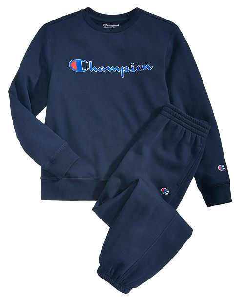 59c811548 Champion Big Boys Heritage Logo Sweatshirt   Jogger Pants ...