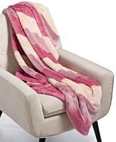 Whim By Martha Stewart Collection Ombré Stripe Faux-Fur Throw 76b1e2764