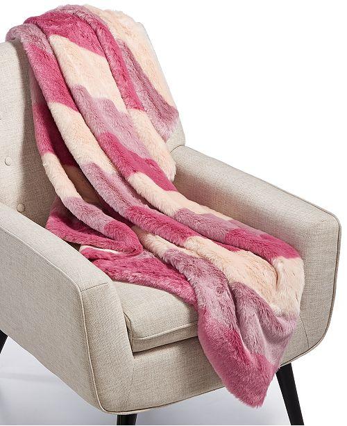 Ombré Stripe Faux-Fur Throw, Created for Macy's