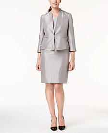 Shiny Jacket & Sheath Dress Suit, Regular & Petite