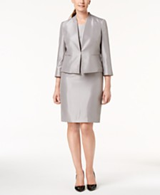 Le Suit Shiny Jacket & Sheath Dress Suit, Regular & Petite