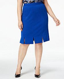Kasper Plus Size Carwash-Hem Skirt