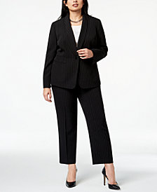 Kasper Plus Size Pinstriped Jacket & Pants