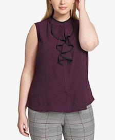 Calvin Klein Plus Size Ruffle-Front Shell