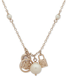 """Lauren Ralph Lauren Gold-Tone Stone & Imitation Pearl Charm Pendant Necklace, 16"""" + 3"""" extender"""