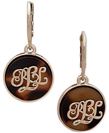 Lauren Ralph Lauren Gold-Tone Tortoise-Look Logo Drop Earrings