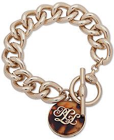 Lauren Ralph Lauren Gold-Tone Tortoise-Look Logo Link Bracelet