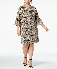Jessica Howard Plus Size Bell-Sleeve Lace Dress