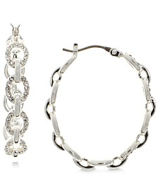 Lauren Ralph Lauren Silver-Tone Crystal Link Hoop Earrings