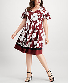 Robbie Bee Plus Size Puffed-Print Fit & Flare Dress