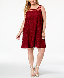 Robbie Bee Plus Size Illusion Floral-Embroidered Shift Dress