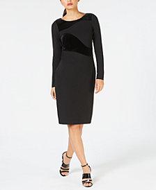 Calvin Klein Long-Sleeve Velvet-Swirl Sheath Dress
