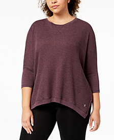 Calvin Klein Performance Plus Size 3/4-Sleeve Top