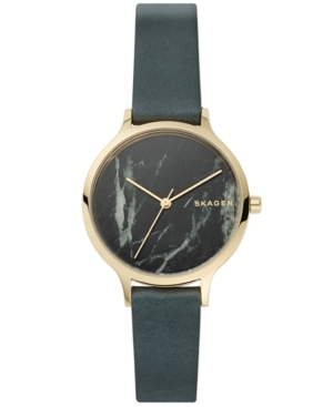 Skagen WOMEN'S ANITA GREEN LEATHER STRAP WATCH 34MM