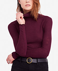 Free People Waffle-Knit Turtleneck Top
