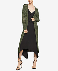 BCBGMAXAZRIA Open-Stitch Striped Long Cardigan