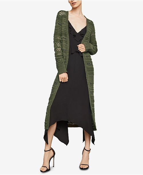 Cardigan BCBGMAXAZRIA OLIVE Stitch DARK Long Open Striped pxrInxaw