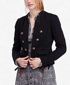 Free People Jagger Double-Breasted Cotton Blazer