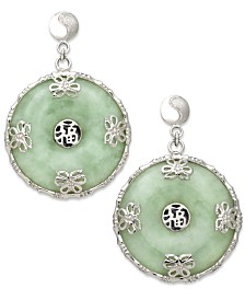 Sterling Silver Earrings, Jade Circle Flower Overlay Earrings