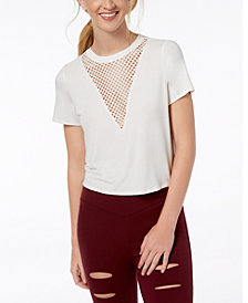 Material Girl Juniors' Mesh-Inset T-Shirt, Created for Macy's