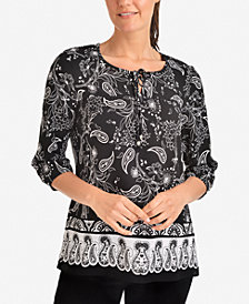NY Collection Paisley-Print Tie-Neck Top