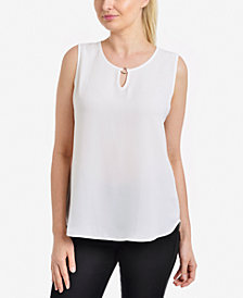 NY Collection Keyhole Sleeveless Top